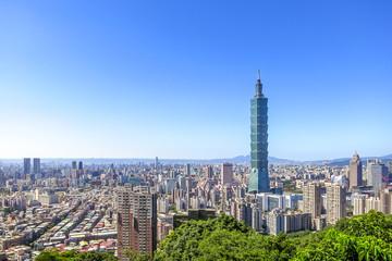 Aerial view over Taipei City with Taipei 101 Skyscraper, capital city of Taiwan