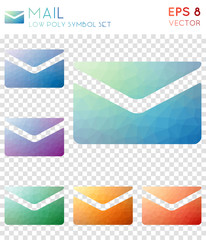 Mail geometric polygonal icons. Awesome mosaic style symbol collection. Enchanting low poly style. Modern design. Mail icons set for infographics or presentation.