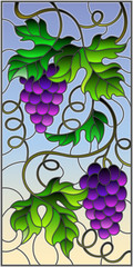 The illustration in stained glass style painting with a bunch of red grapes and leaves on a sky  background,vertical image