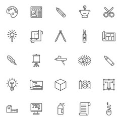 Drawing tools outline icons set. linear style symbols collection, line signs pack. vector graphics. Set includes icons as color palette, pencil, scissors, magic wand, crop, compass, blueprint, feather