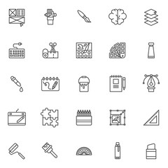 Drawing elements outline icons set. linear style symbols collection, line signs pack. vector graphics. Set includes icons as layout, hand with pencil, paint brush, blain, tape and scissors, dropper