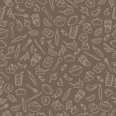 Seamless pattern with outline icons on a theme kitchen accessories and food,beige outline on a brown background