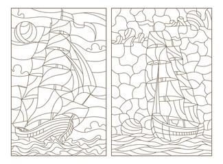 Set contour illustrations of stained glass, seascape, ships sailing on the background of the cloudy sky and the sun, dark contours on white backgroun