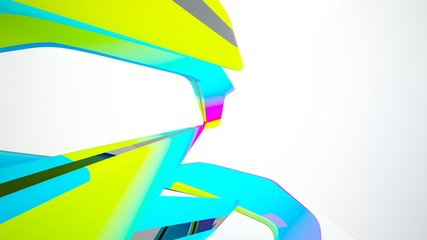 Abstract white and colored gradient smooth interior with window. 3D illustration and rendering.