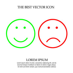 Smile and frown face vector icon eps 10.