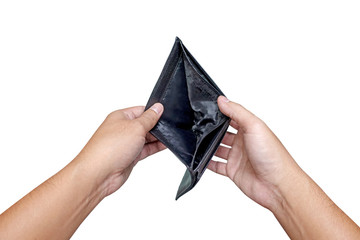 Man hand open an empty wallet on white background
