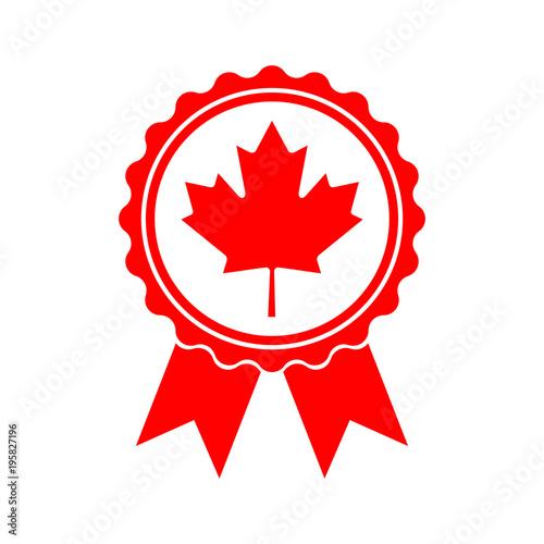 Icon Maple Leaf Medal Maple Leaf Vector Illustration Canada Symbol
