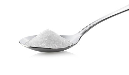 sugar in spoon on white background Wall mural