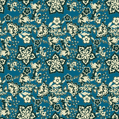 floral pattern in retro wallpaper style. seamless vector background