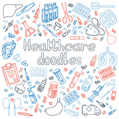 medicine doodles vector illustration