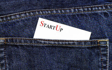 StartUp business card in a trouser pocket