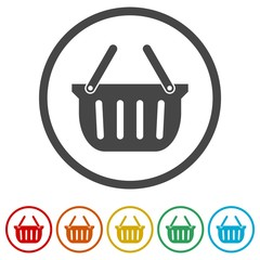 Basket icon, Basket shopping commercial icon, 6 Colors Included