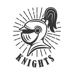 Knights. Emblem template with medieval knight helmet. Design element for logo, label, emblem, sign.