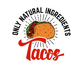 Tacos. Design element for logo, label, emblem, sign.