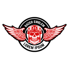 Emblem template with biker skull and wings. Design element for logo, label, emblem, sign, badge.