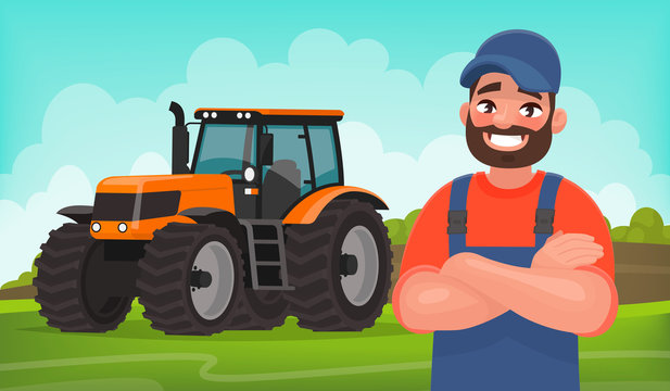 Cheerful farmer on the background of a field and a tractor. Agricultural work. Vector illustration