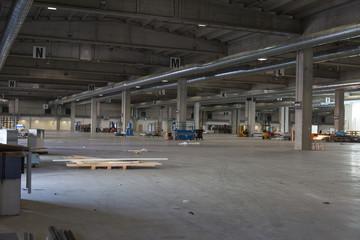 Interior of Empty Warehouse: Empty Factory Building