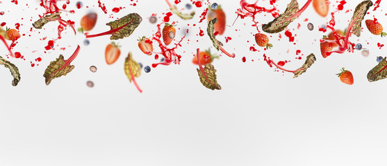 Various flying or falling berries with red chard leaves and splash of juice  on white background, banner or template