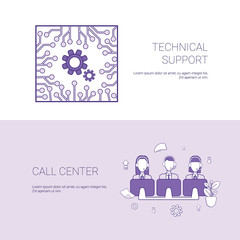 Technical Support And Call Center Service Concept Template Web Banner With Copy Space Vector Illustration