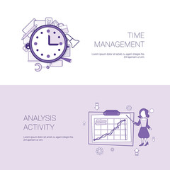 Time Management And Analysis Activity Concept Template Web Banner With Copy Space Vector Illustration
