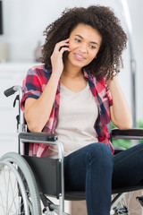 disabled young woman on the phone