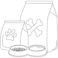 Line art black and white pet food poster