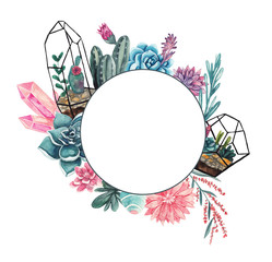 Geometric frame with succulents, gemstones and floral elements. Watercolor illustration on white isolated background. Floral frame for text