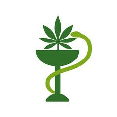 Snake and bowl medical icon. Marijuana Leaf. Medical cannabis. Marijuana Pharmacy. Health and Medical therapy. Drug consumption, marijuana use. Marijuana Legalization. Isolated vector illustration on