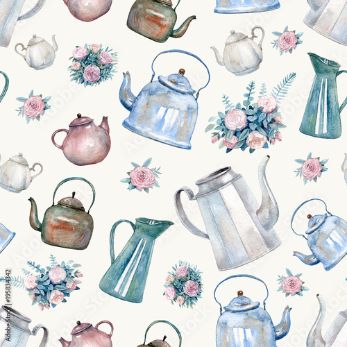 "Kitchen Tea Background: ""A Seamless Pattern With Vintage Kettles, Teapots And"
