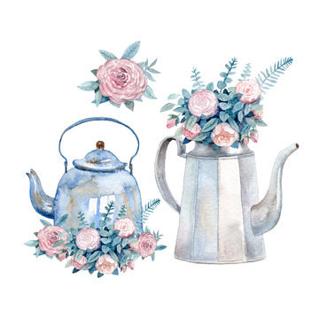 A set of two vintage watercolor kettles with bouquets of roses painted with watercolor. A cozy tea time greeting card.
