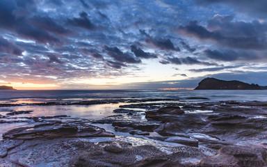 Seascape Cloudy Nightscape
