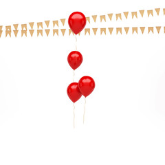 Red balloons with, gold flags on the center isolated on white background. 3D illustration of celebration, party balloons