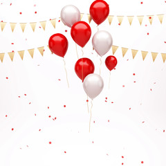 Red and white balloons on the center with red confetti and gold flags isolated on white background. 3D illustration of celebration, party balloons