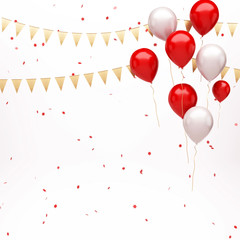 Red and white balloons on the top right corner with red confetti and gold flags isolated on white background. 3D illustration of celebration, party balloons