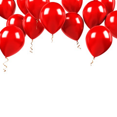 Red balloons on the upstairs with clear path isolated on white background. 3D illustration of beautiful, candy, glossy balloons