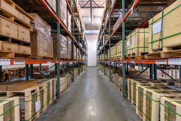 Interior of logistics warehouse
