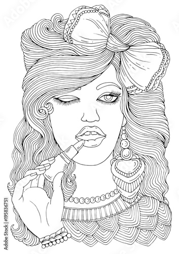 Vector hand drawn stylish young girl with a bow on her head ...