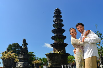 Traditional wedding in balinese water temple palace