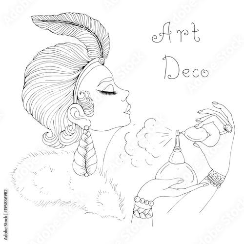 Vector Portrait In Profile Of Elegant Lady In Art Deco Girl
