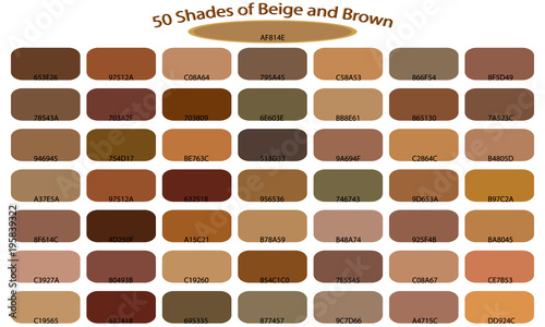 Shades Of Brown Color Isolated On White Background Tones And Backgrounds With Codes Vector Ilration Palette