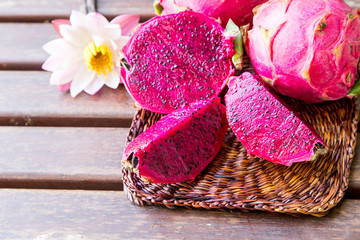 bright juicy tropical red dragon fruit. Dragon fruit or Pitaya is the plant in Cactaceae family or Cactus.