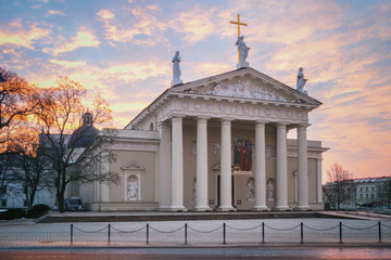 Vilnius - Lithuania. The Cathedral at first light in the morning