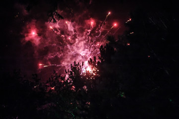 Beautiful colorful fireworks display for celebration on dark background