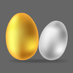 Vector image of eggs. Gold and silver egg icon.