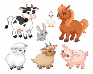 The image of cute farm animals in cartoon style. Children's illustration. Vector set.