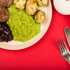 Swedish Style Meatballs With Potatoes And Peas