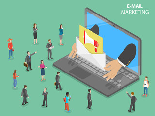 E-mail marketing flat isometric vector concept. Hands from the laptop shows a letter with promotion sign in it to the audience. Digital advertising campaign.