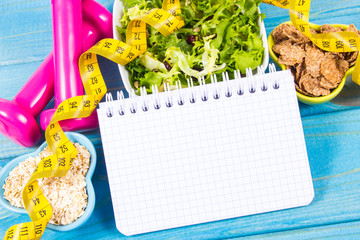 Diet plan, menu or program, tape measure, dumbbells and diet food, weight loss and detox concept.