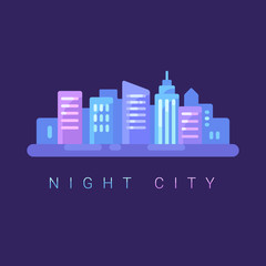 Night cityscape flat illustration background. Neon city banner with text