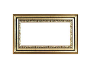 antique golden picture frame with copy space isolated on white background, close-up yellow gold vintage wooden frame for home decor retro classic style